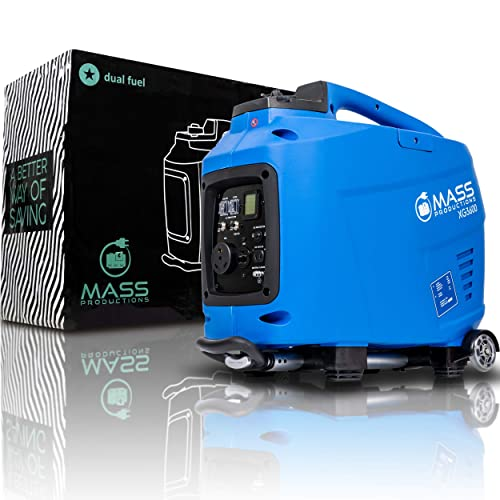 Mass Productions Portable 3600 Max Watt Generator Dual Fuel, Trolley, RV Ready and Digital Display Premium Super Quiet Operation Eco Mode and Oil Alert System