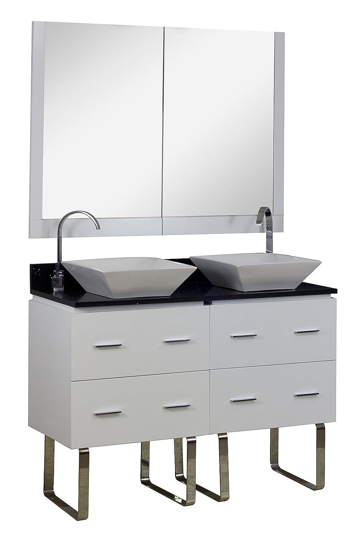 American Imaginations AI-2-1416 Modern Plywood-Melamine Vanity Set, 48-Inch x 18.5-Inch, White Finish
