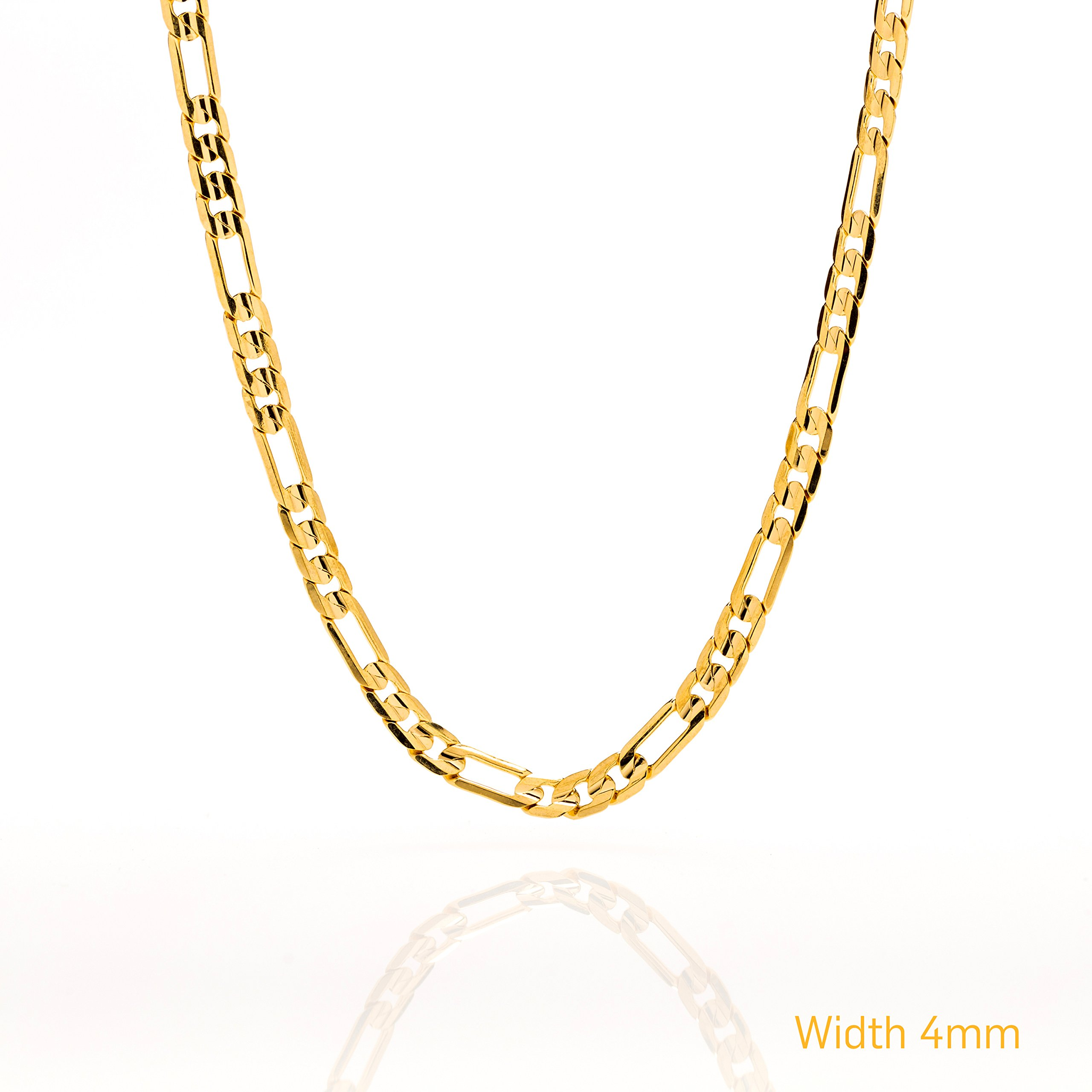 Lifetime Jewelry Figaro Chain 4MM Necklace, 24K Gold Over Semi-Precious Metals, GUARANTEED FOR LIFE, 24 Inches by Lifetime Jewelry (Image #6)