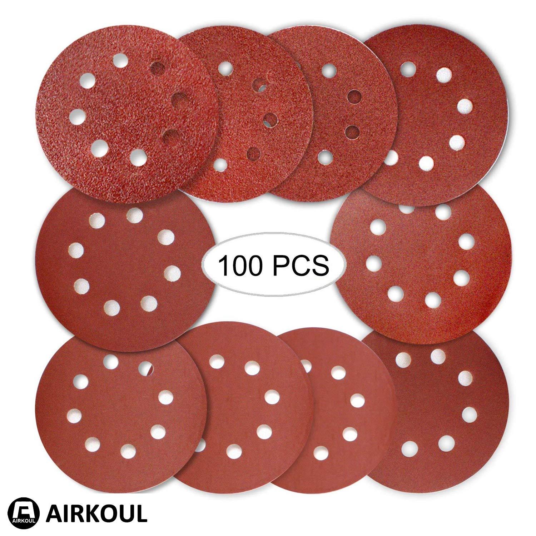 Airkoul 100PCS 5 inch 8 Hole Hook and Loop Round Sandpaper Discs Sanding Sheets Assorted 40 60 80 120 180 240 320 400 600 800 Grits for Power Random Orbit Sanders
