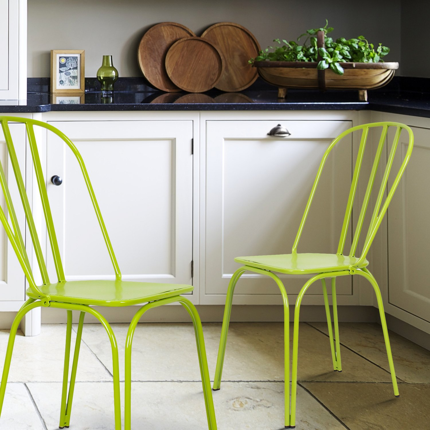 Set of 2 Lime Green Adeco Contemporary Hollow Back Steel Stackable Chairs Height 33 Inch
