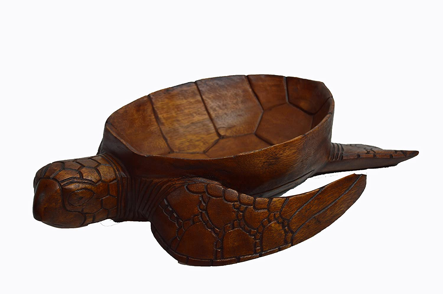 Huge Extra Large Hand Carved Mahogany Wood Nautical Turtle Bowl