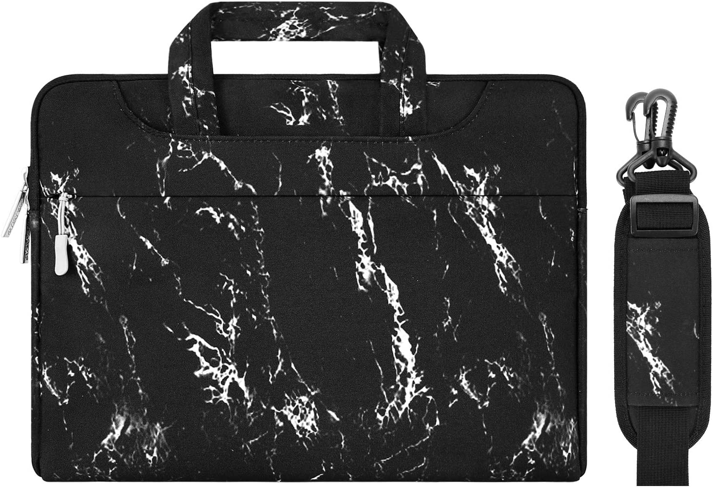MOSISO Laptop Shoulder Bag Compatible with MacBook Pro 16 inch A2141, 15 15.4 15.6 inch Dell Lenovo HP Asus Acer Samsung Sony Chromebook, Marble Pattern Carrying Briefcase Sleeve Case, Black