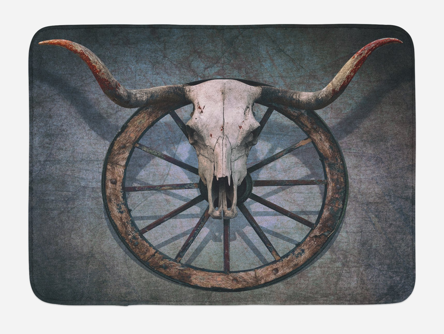 Ambesonne Barn Wood Wagon Wheel Bath Mat, Wild West Themed Design with Bull Skull on Cart Wheel Scratched Wall, Plush Bathroom Decor Mat with Non Slip Backing, 29.5 W X 17.5 W Inches, Multicolor