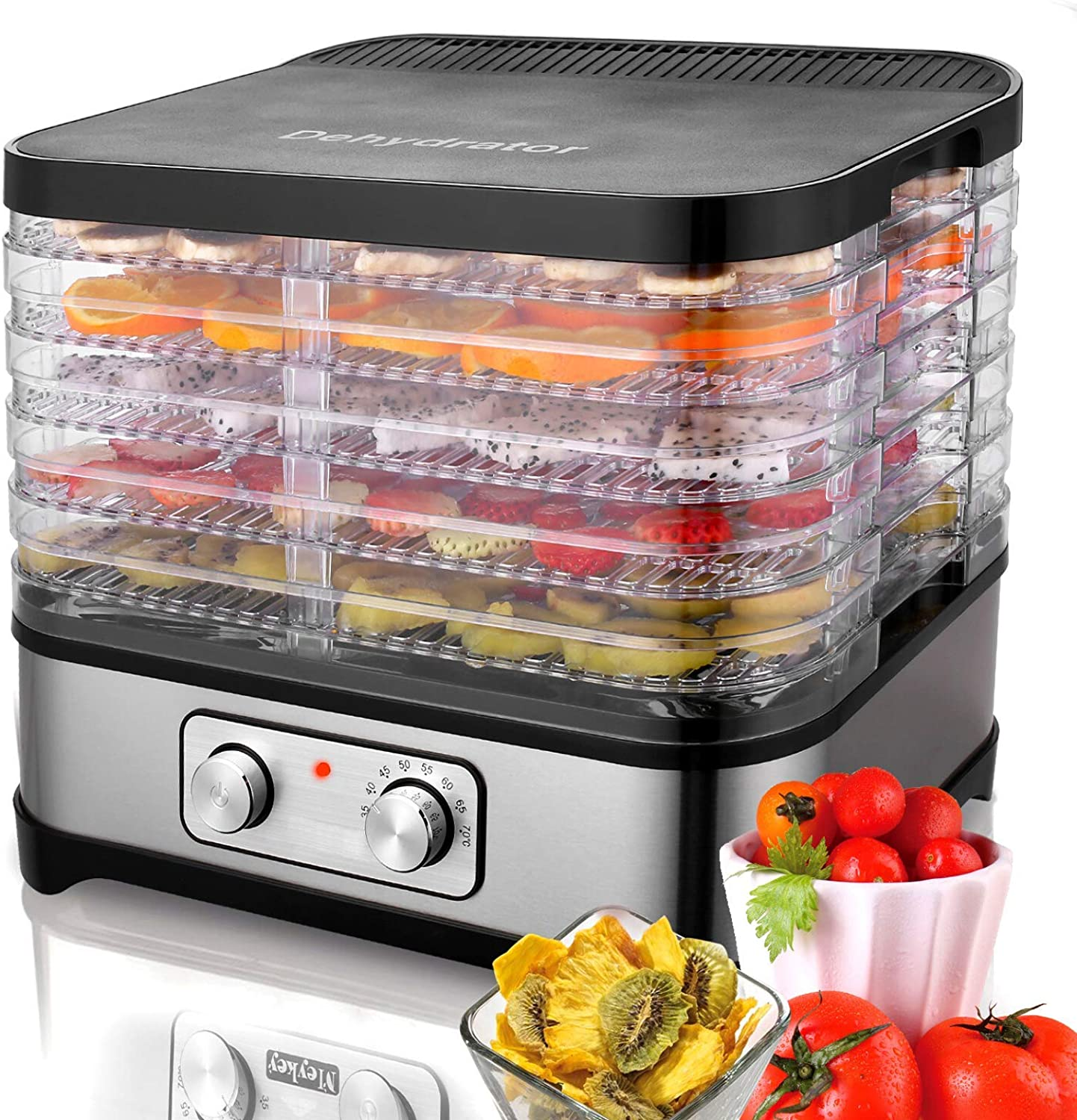 7/5-Tray Electric Food Dehydrator Machine For Jerky Meat Fruit Vegetable Beef Plant,Automatic Shut Off Temperature Control Professional Multi-Tier Kitchen Food Appliances,Commercial Dehydrator Machine (5 - Tray)
