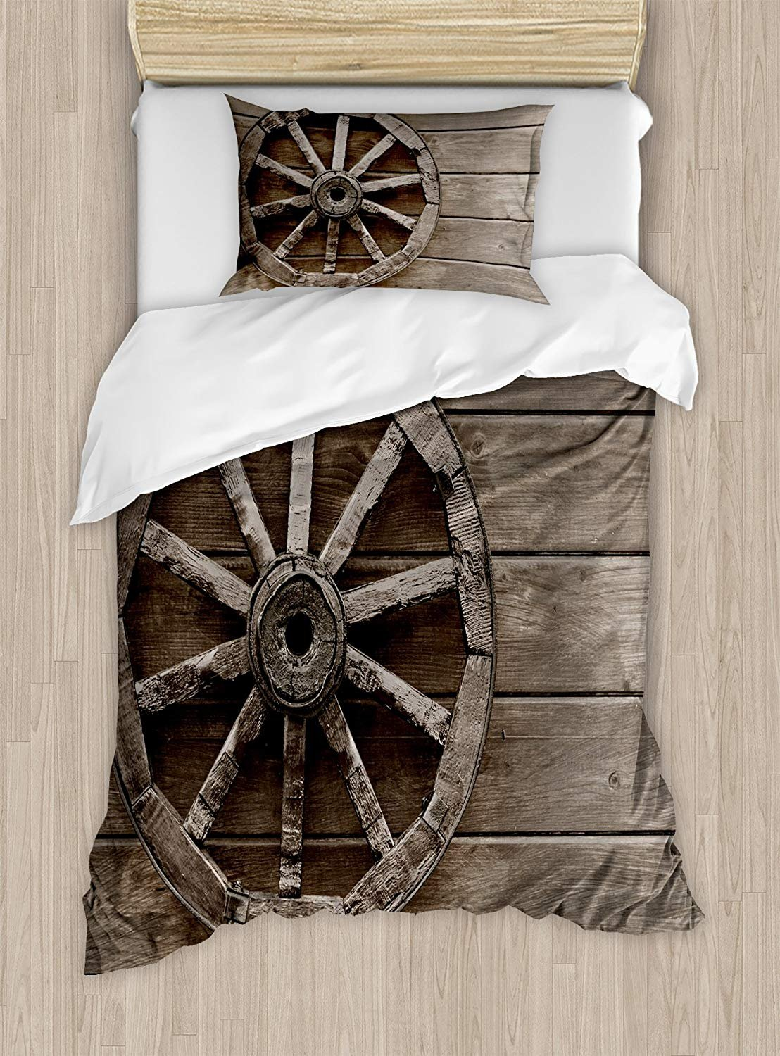 Twin XL Extra Long Bedding Set,Barn Wood Wagon Wheel Duvet Cover Set,Antique Aged Carriage Vehicle Wheel on the Wall of Barn Grunge Western,Include 1 Flat Sheet 1 Duvet Cover and 2 Pillow Cases