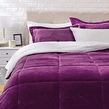3-Piece AmazonBasics Ultra-Soft Micromink Sherpa Comforter Bed Set
