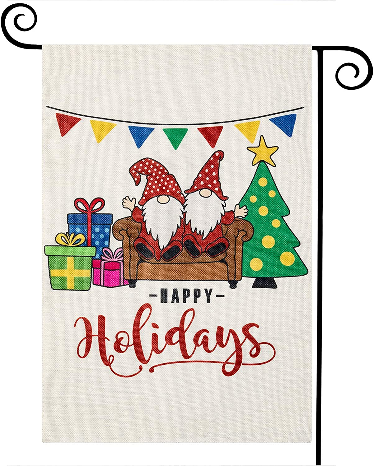 LARMOY Christmas Happy Holidays Garden Flag 12 x 18 Inch Double Sided, Small Lovely Gnome Winter Burlap Yard Flags for Xmas Outdoor Decoration