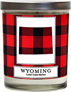 Wyoming Buffalo Plaid Scented Soy Candle | Fraser Fir, Pine Needle, Cedarwood | 10 Oz. Glass Jar Candle | Made in The USA | Decorative Candles | Going Away Gifts for Friends | State Candles