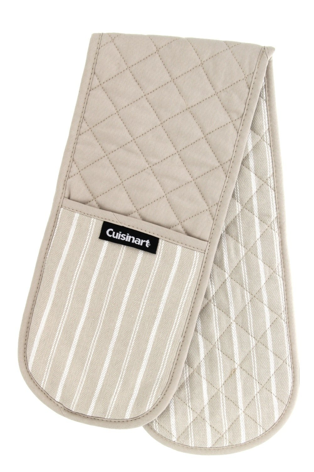 "Cuisinart Double Oven Mitt Glove/Moppine, Quilted Heat Resistant Kitchen Accessory, Twill Stripe, 35"" x 7.5"", Great for Cooking, Baking, and Handling Hot Pots & Pans- Tan"