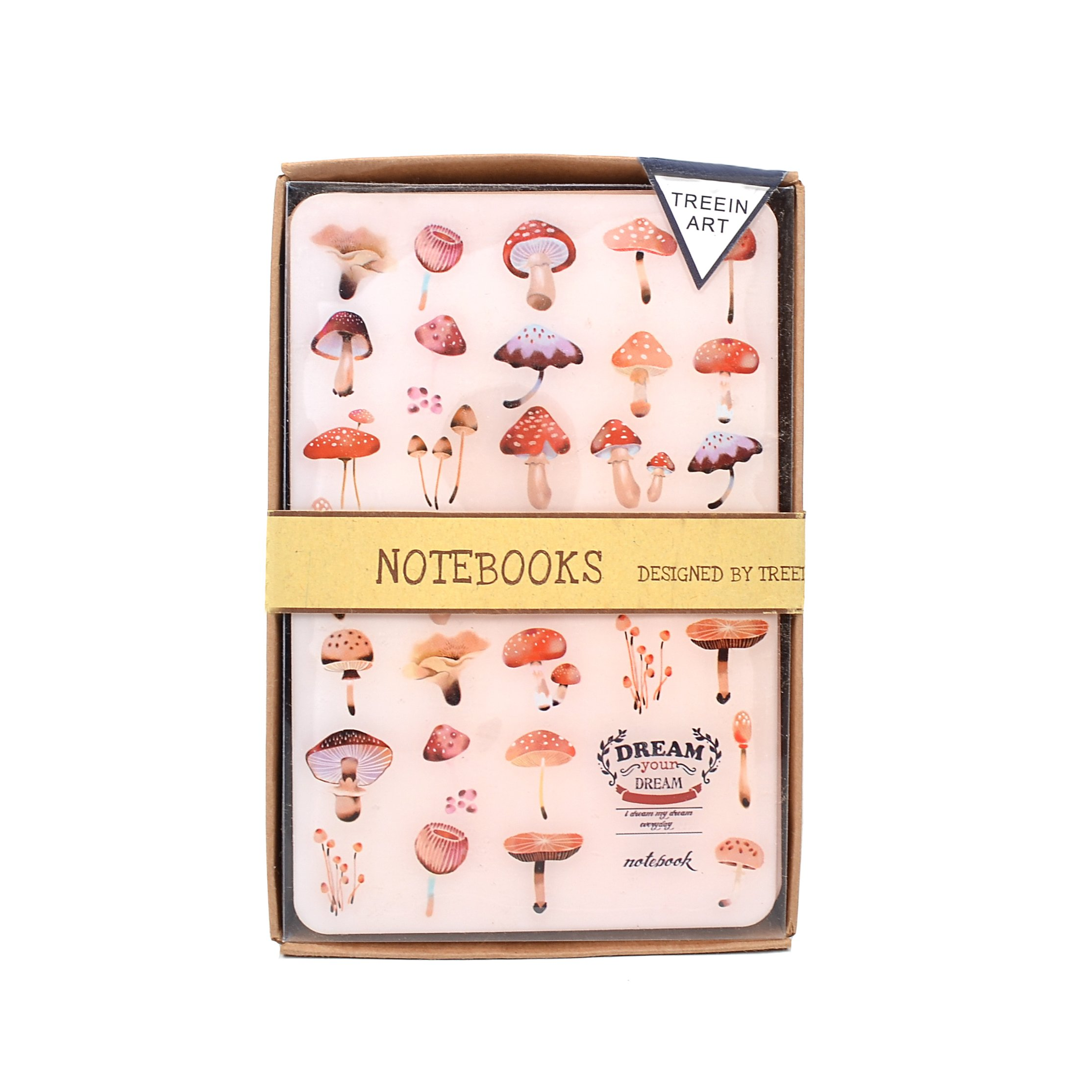 Damara Dainty Floral Print Glass Cover Notebook,Pink by Damara