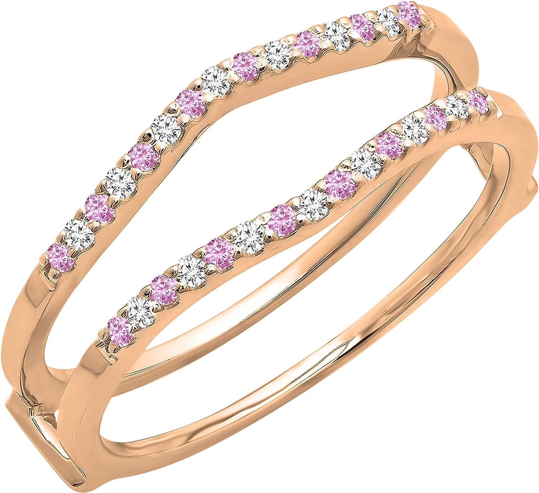 Dazzlingrock Collection Round Pink Sapphire & White Diamond Ladies Wedding Band Enhancer Guard Double Ring, 10K Gold
