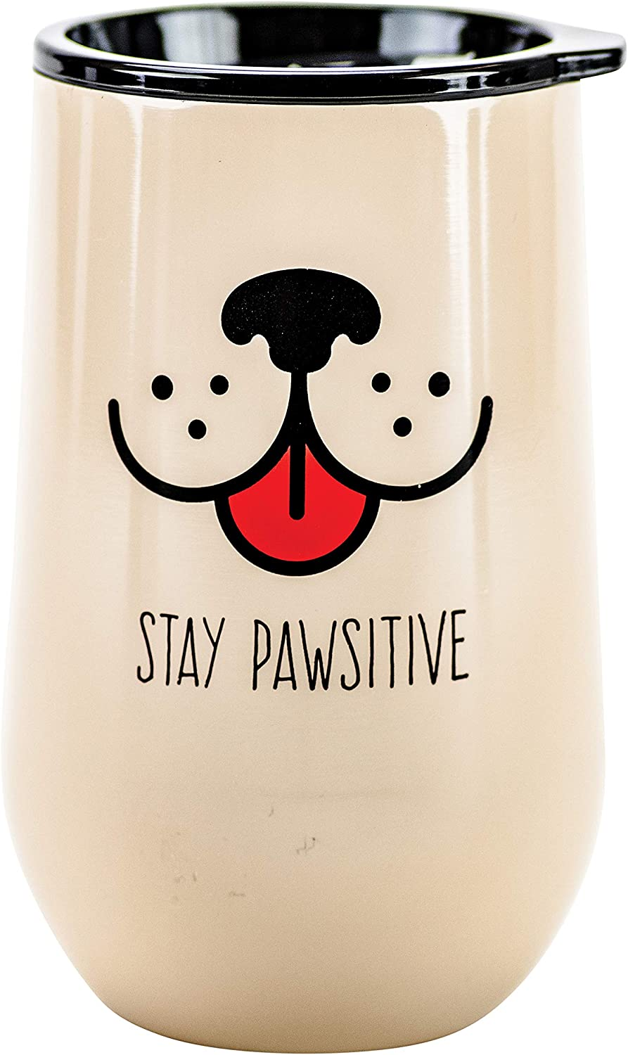Boston Warehouse Stainless Steel Stemless Wine Glass with Lid, 16-Ounce, Stay Pawsitive