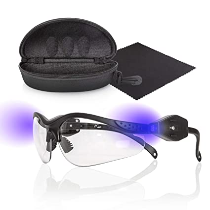 7de654c21359 COMFYGLO Black Light UV Tactical Flashlight Glasses – Hands Free LED  Ultraviolet Blacklight for Scorpion Hunting