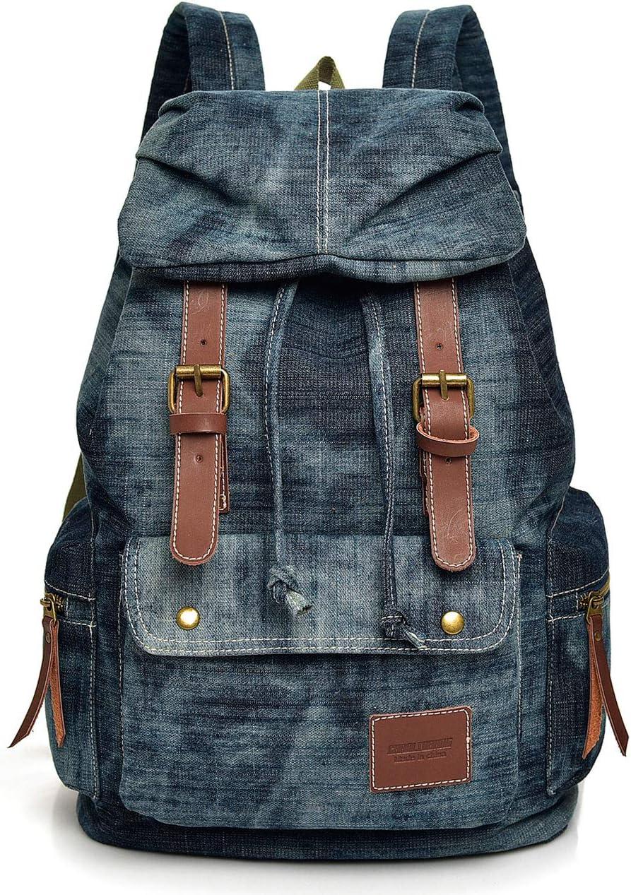Laptop Vintage Wash Denim Canvas Backpack School Shoulder Bag Travel Rucksack