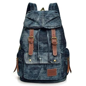 Image Unavailable. Image not available for. Color  Women Denim Backpack  Purse Retro Rucksack Stonewash Jeans Bag School Book bag for Teenager Grils  Canvas af98873373fcc
