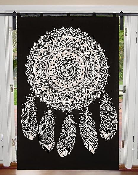 Janki Creation Mandala - Tapiz para Colgar en la Pared (algodón, 125 x 208 cm), Color Negro: Amazon.es: Hogar