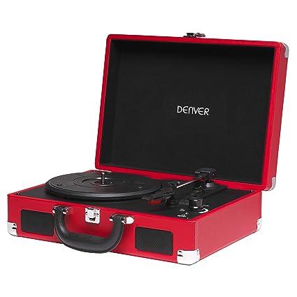 Tocadiscos Denver VPL-118RED de Tres velocidades 33 1/3,45,78 RPM. Altavoces 2 W. Rojo.