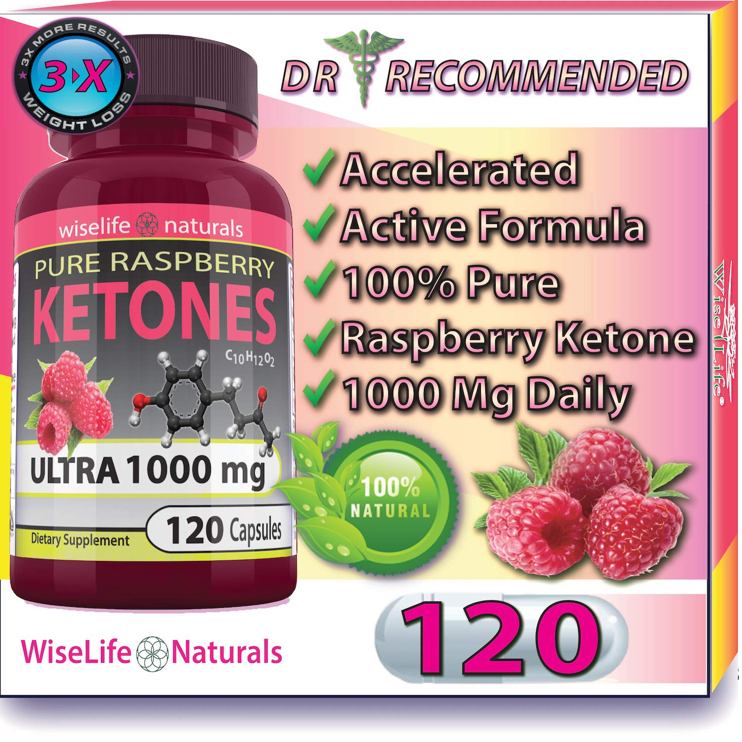 Best Fast Metabolism Slimming Pill - Pure Raspberry Ketones Fresh 1000mg Plus Max Burn, Lose Fat Quickly Proven Supports Rapid Ketogenic Diet Weight Loss, Works Naturally, Slim at Home No Side Effects by WiseLifeNaturals