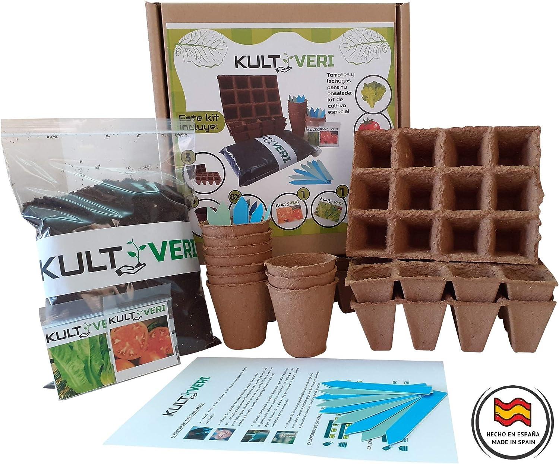 KULTIVERI Set de Cultivo de Lechugas y Tomates de 35 Piezas: Macetas y Semilleros de Germinación Biodegradables. CREA tu Propio Huerto en Casa.