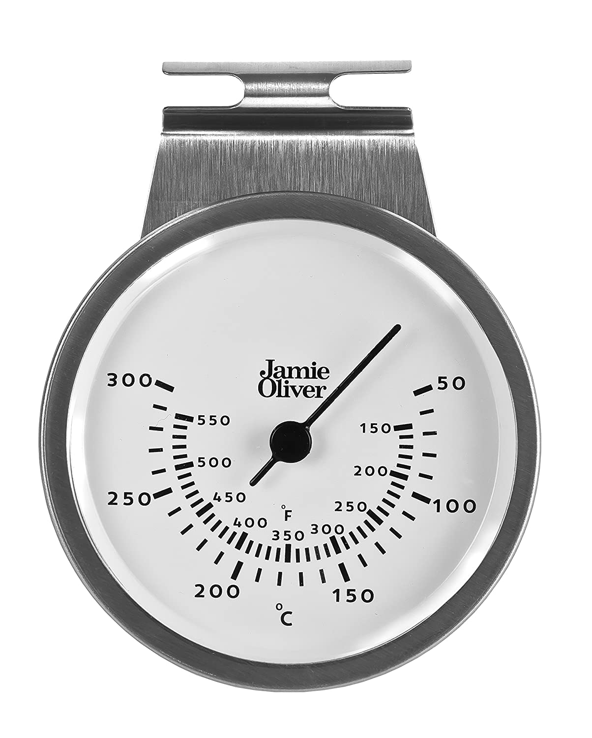 Jamie Oliver Magnetic Kitchen Timer with Manual Wind Up and Loud Ring - Stainless Steel JB6330