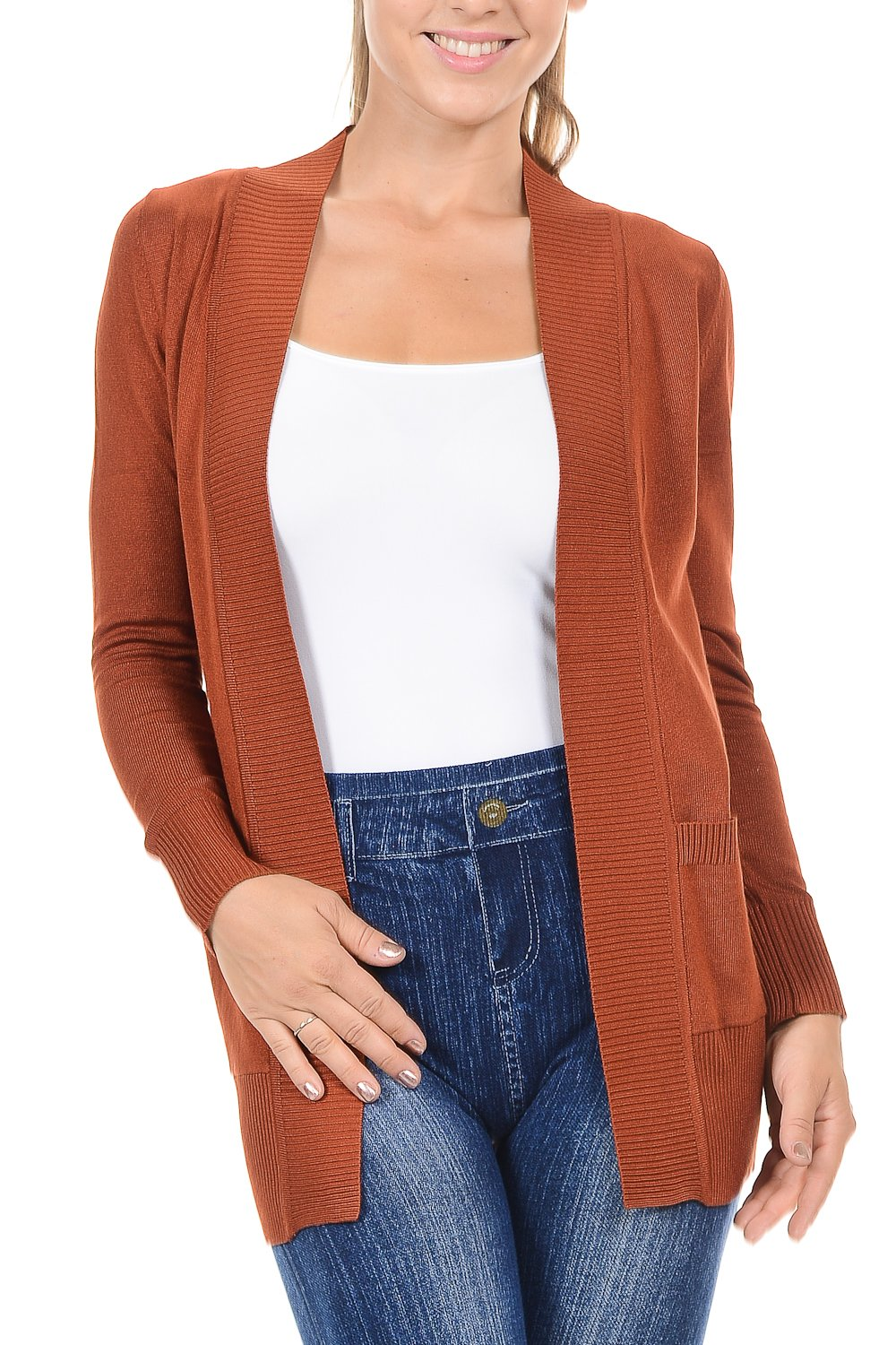 YourStyle Women Open Front Long Sleeve Classic Knit Cardigan (Medium, Amber)