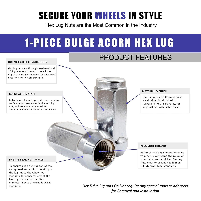 Cone Seat Hex Wheel Lug Nut M14x1.50 20 Lug M14x1.50, Chrome 14x1.5 Closed End Bulge Acorn Lug Nuts Set 19mm 3//4