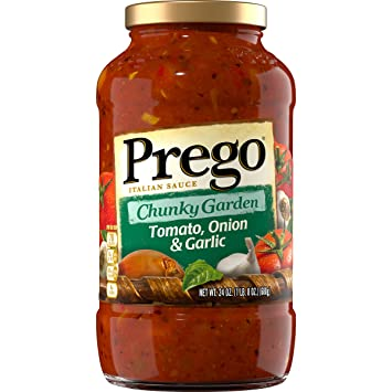 Prego Chunky Garden Pasta Sauce, Tomato, Onion & Garlic, 24 Ounce (Packaging