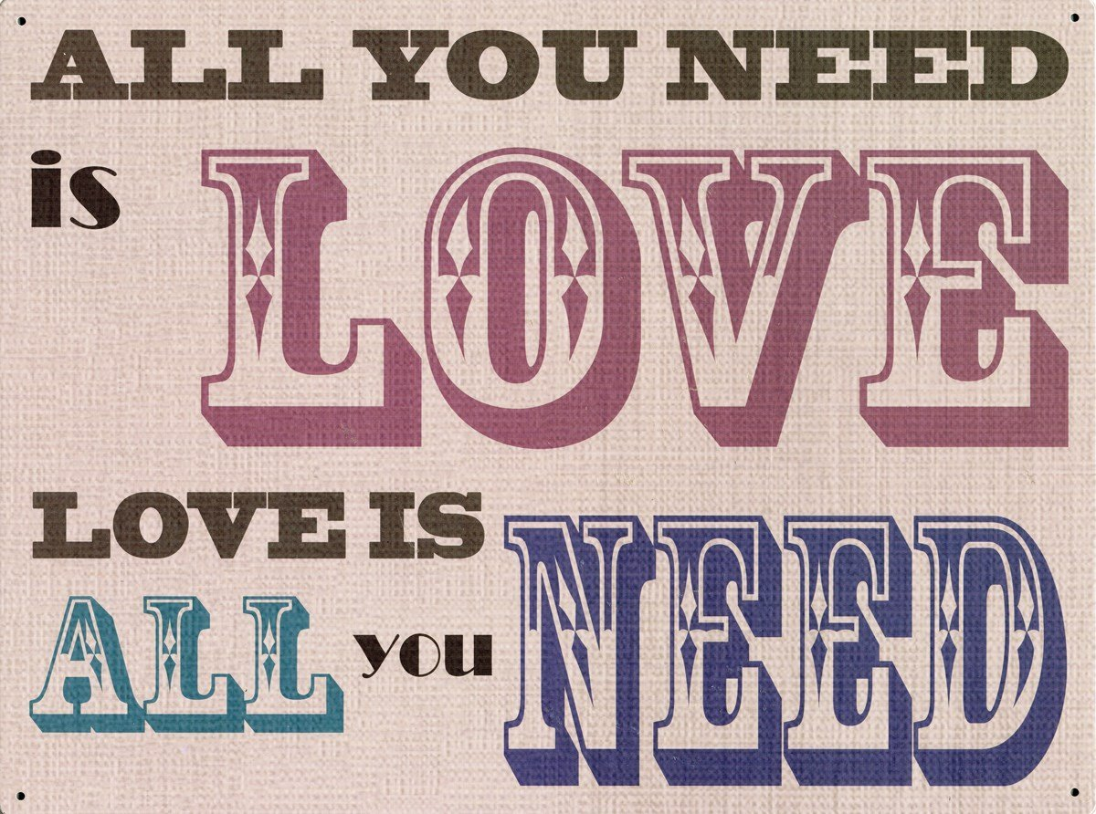Grindstore Cartel Metálico All You Need Is Love 40x30cm ...