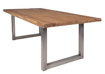 Ess Tisch Aus Recyceltem Teak Holz Mit Tisch Gestellt Aus Eisen In Antik