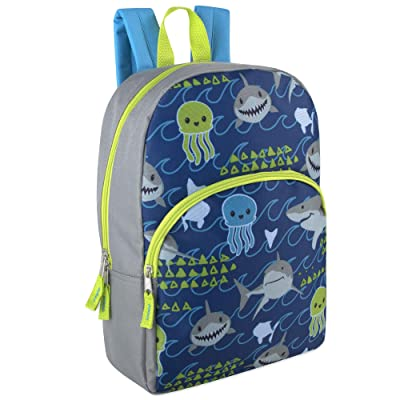"Trail maker Kids Character Backpacks for Boys & Girls (15"") with Adjustable, Padded Back Straps (Shark) 