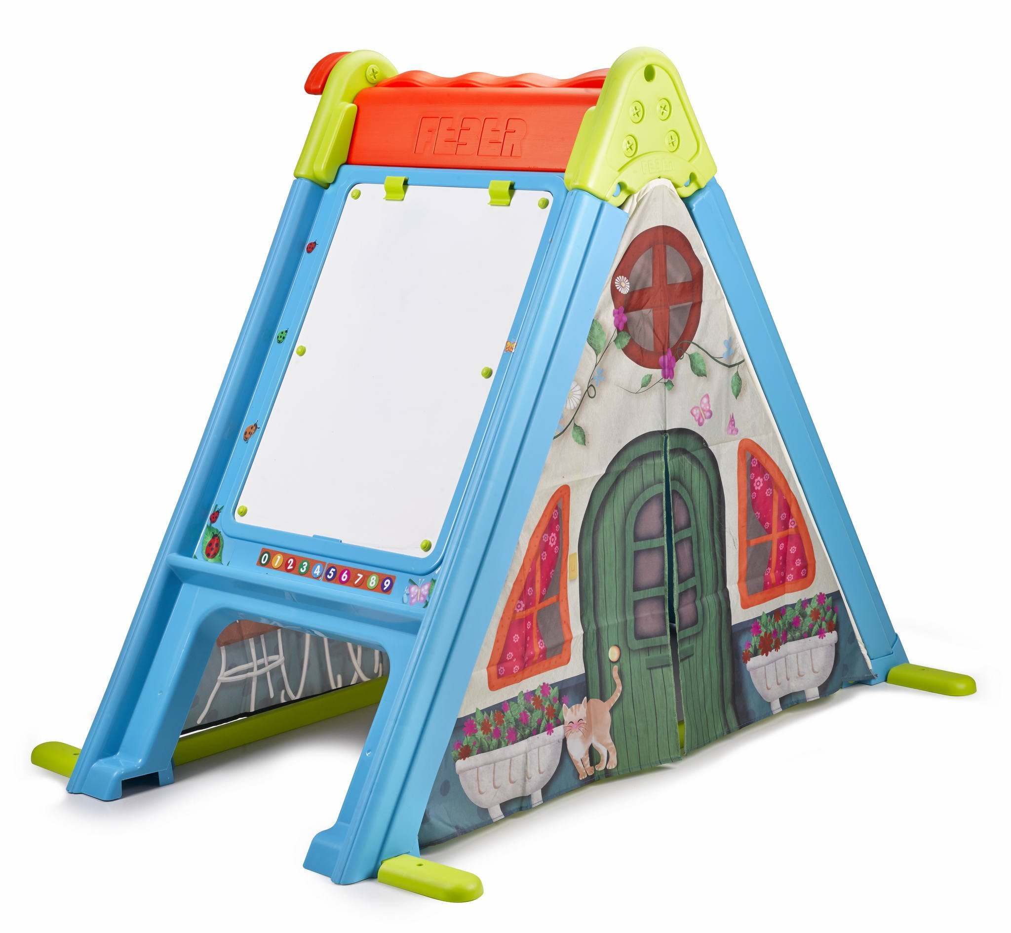 Feber 800011400 Play and Fold Activity House 3 in 1 - Playset - Easy to Store - Indoor and Outdoor, Multicolor by Feber