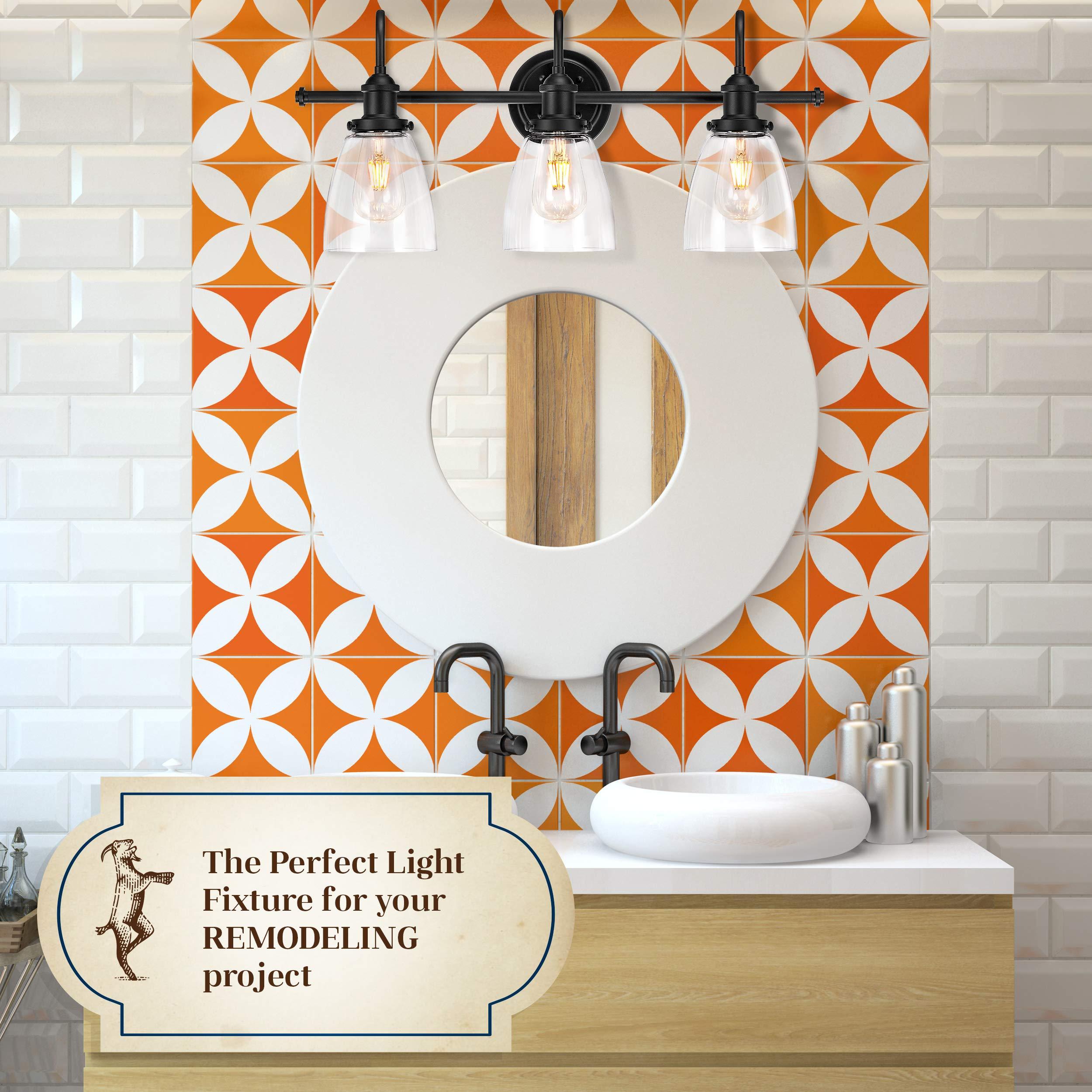 Bathroom Light Fixture - Farmhouse, Vintage, Industrial - 3 Light Bathroom Black Vanity Light Fixture by The Yodeling Goat (Image #3)
