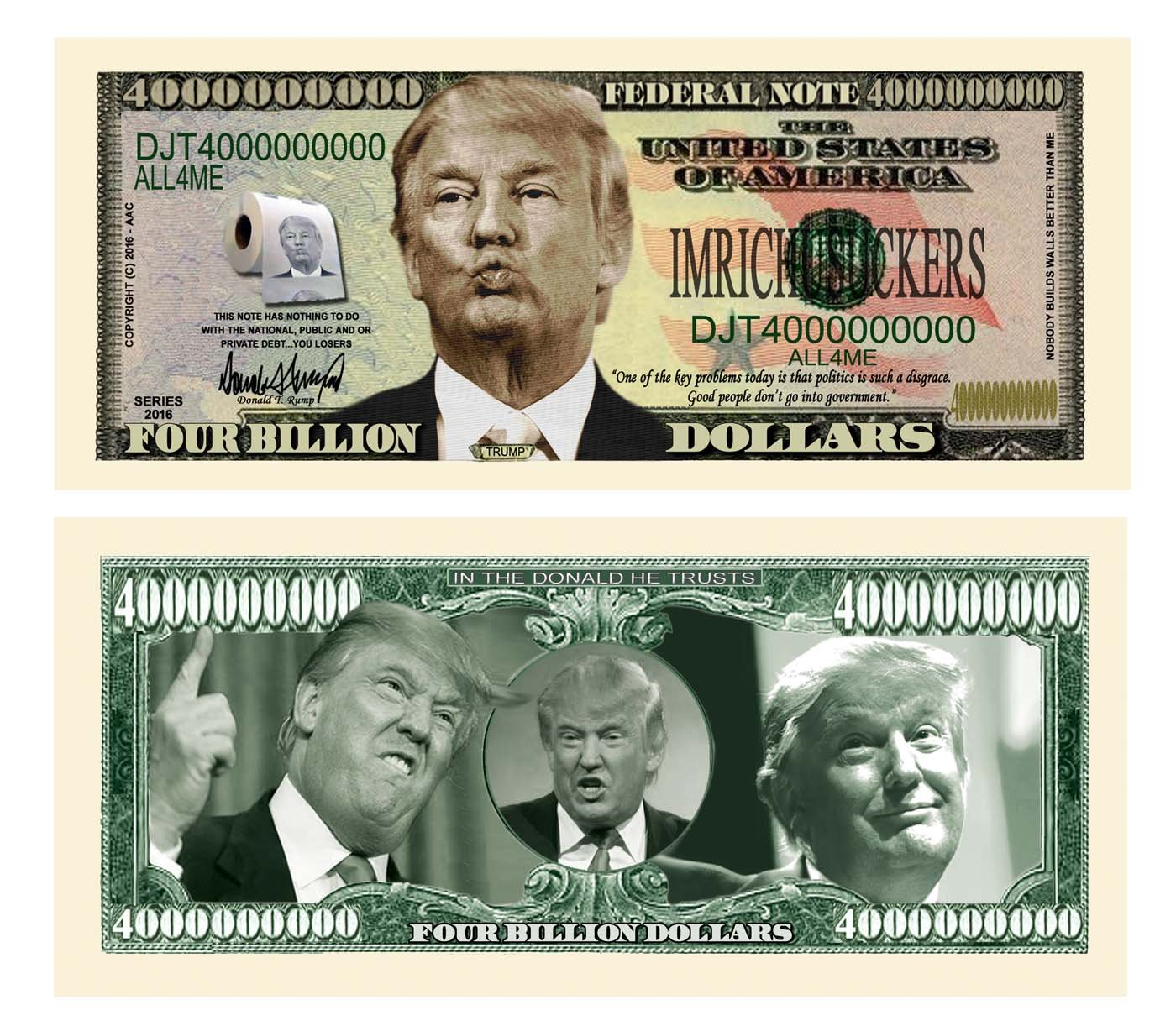 Donald Trump Billion Highly Collectible Novelty Dollar Bill