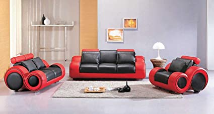 Amazon Com Vig Furniture 4088 Red Black Leather Sofa Set Kitchen
