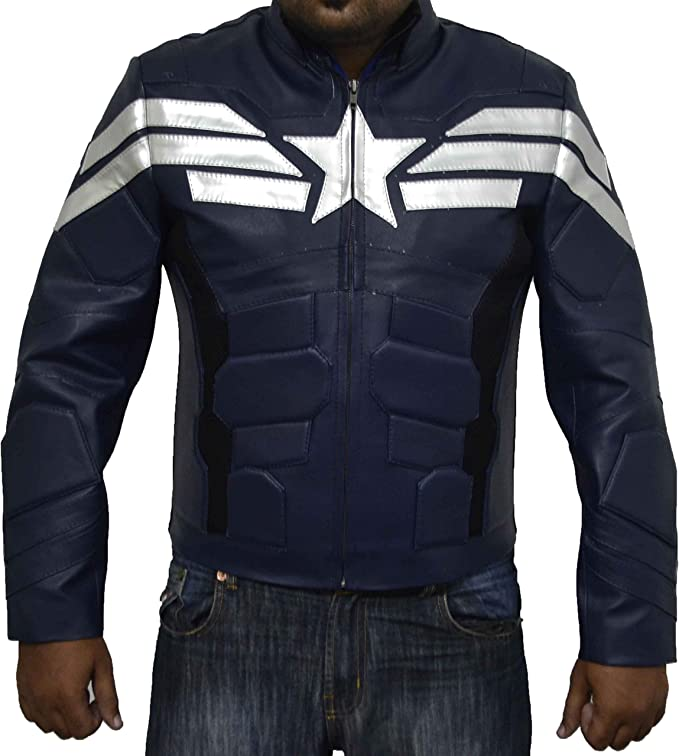 Kid/'s Captain America Winter Soldier Chris Evans Blue Jacket