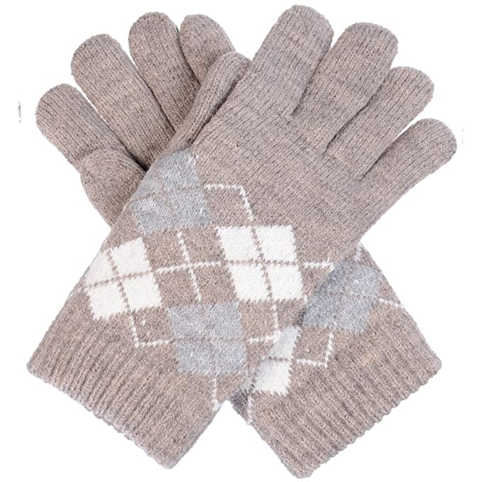 Byos Womens Winter Ultra Warm Plush Fleece Lined Knit Gloves