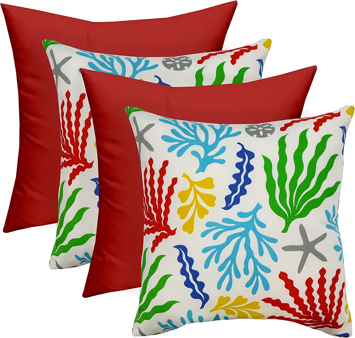 Set of 4 – Indoor Outdoor Square Decorative 20 Throw Toss Pillows – Bashor Fresco Choose Color Red