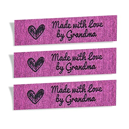fcc28affd24e Wunderlabel Made with Love by Grandma Granny Granma Mix Thread Craft Art  Fashion Woven Ribbon Ribbons Tag Clothing Sewing Sew Clothes Garment Fabric  ...