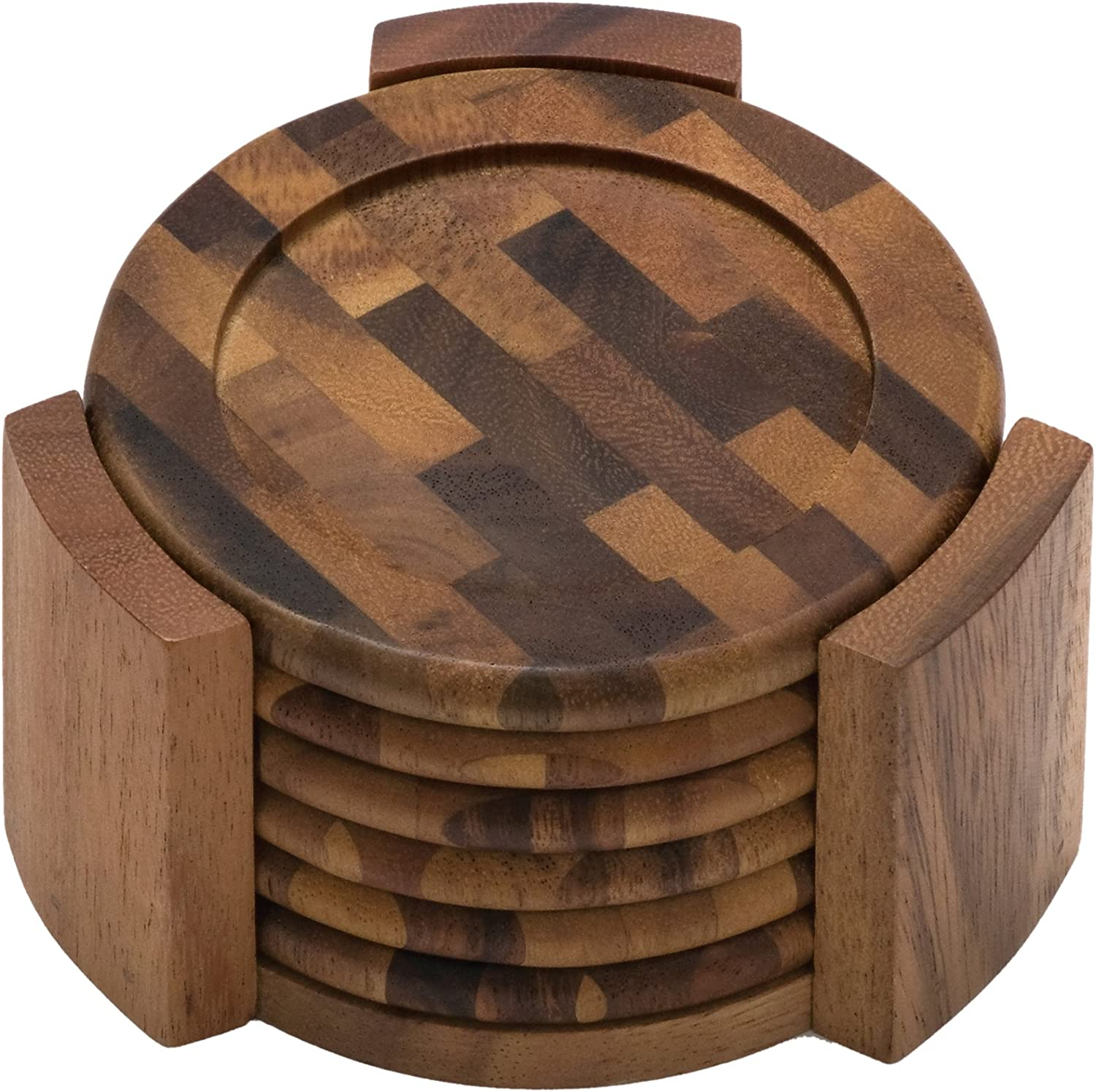 Lipper International Acacia End Grain Wood Round Coasters and Caddy