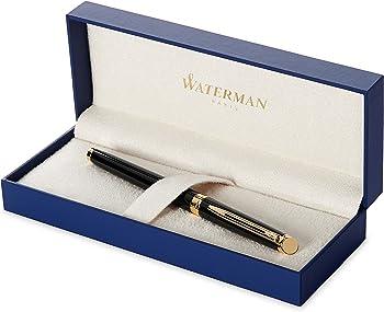 Waterman Hemisphere Black Gold Trim Fountain Pen (Medium)