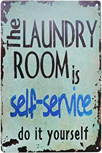 PXIYOU The Laundry Room is Self Service Retro Vintage Wall Plaque Sign Home Bathroom Laundry Room Decor Wash Room Signs 8X12Inch