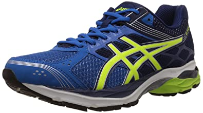 ASICS Men's Gel Pulse 7 Electric Blue, Flash Yellow and Indigo Blue Mesh  Running Shoes