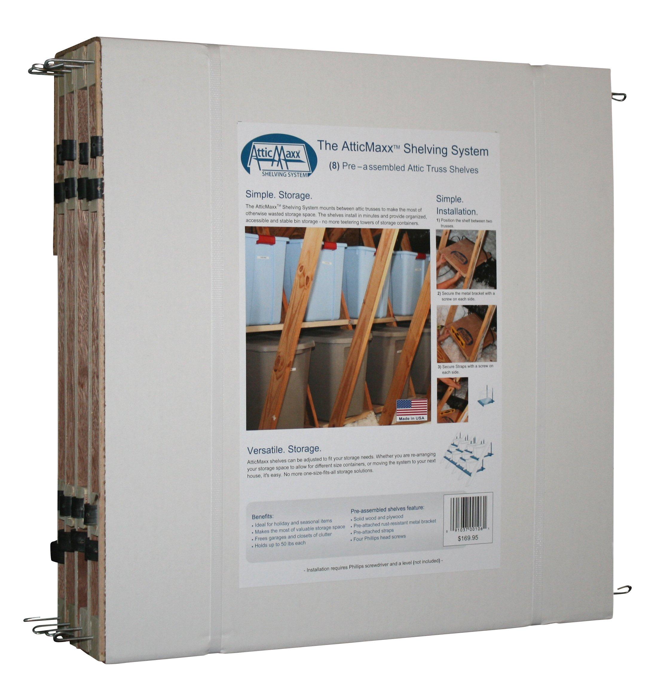 AtticMaxx Shelving System - Set of 8 Attic Truss Storage Shelves by AtticMaxx Shelving System