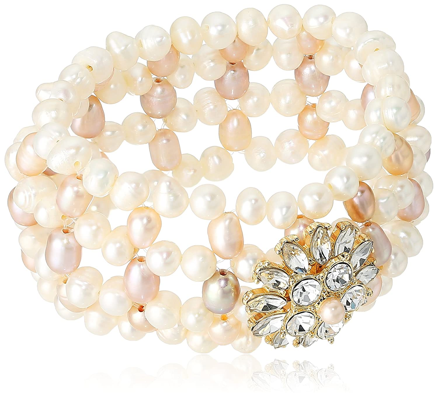 Carolee Petals and Pearls Collection Women's Freshwater Pearl Woven Stretch Bracelet, Gold/Pink CLB00338G680