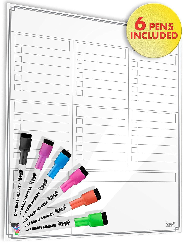 Tablero blanco de borrado en seco magnético/multifunción calendario semanal organizador para frigorífico: Amazon.es: Oficina y papelería