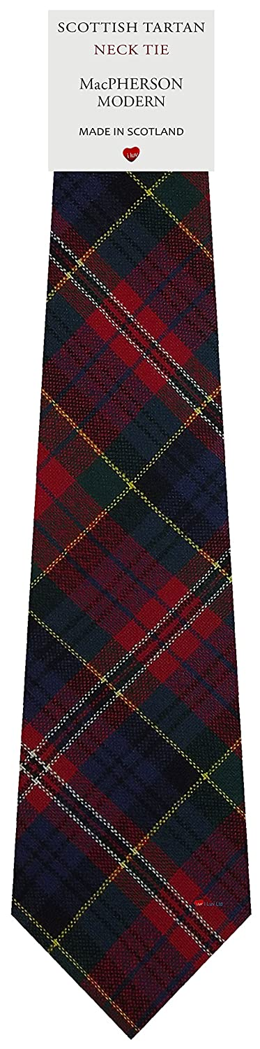 Mens All Wool Tie Woven Scotland - MacPherson Modern Tartan I Luv Ltd