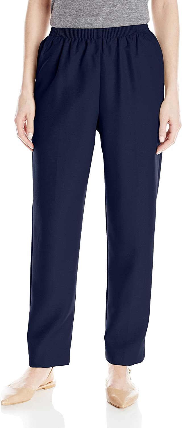 Alfred Dunner Women's All Around Elastic Waist Polyester Petite Pants Poly Proportioned Medium at  Women's Clothing store
