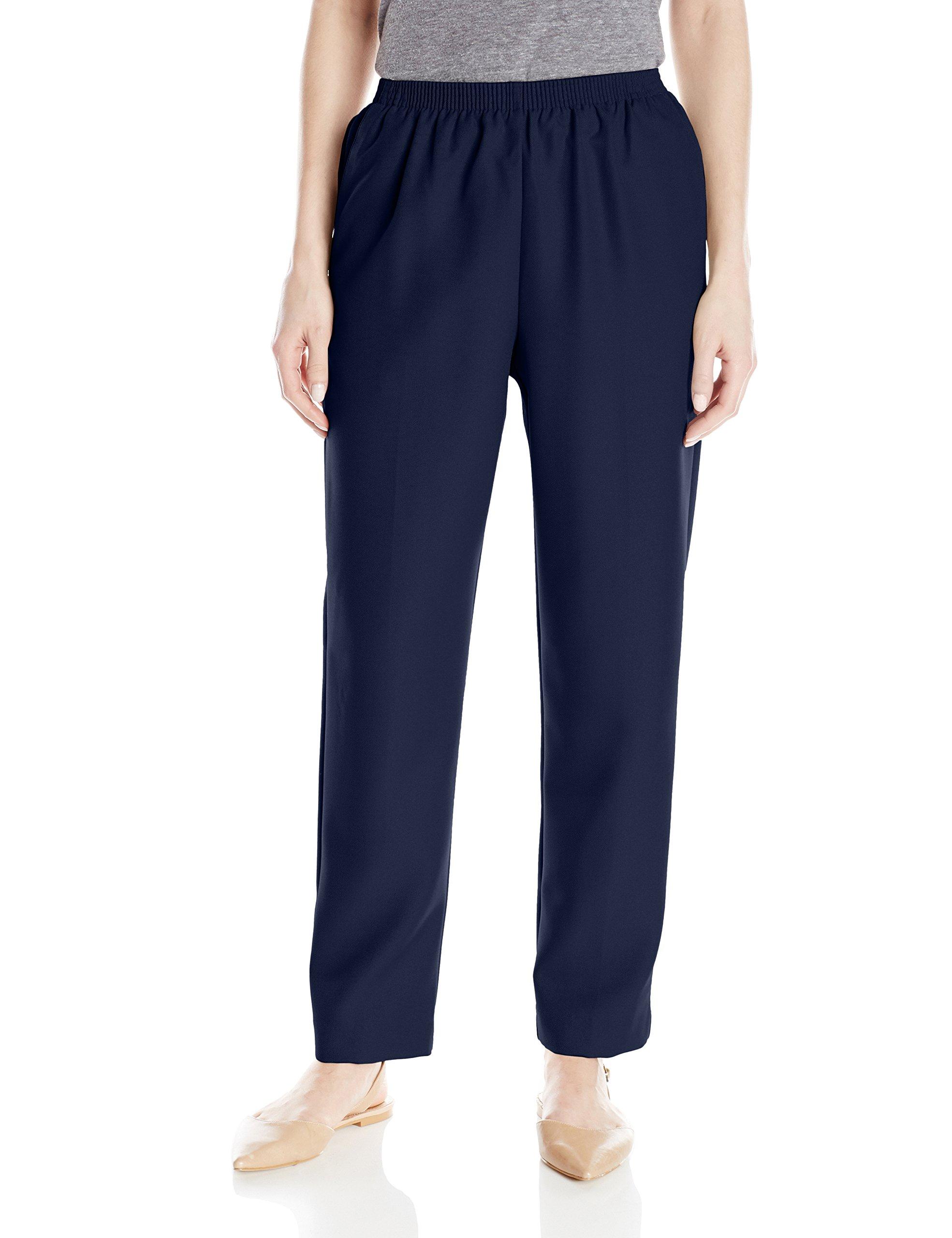 Alfred Dunner Women's Petite Average Pant, Navy, 10P