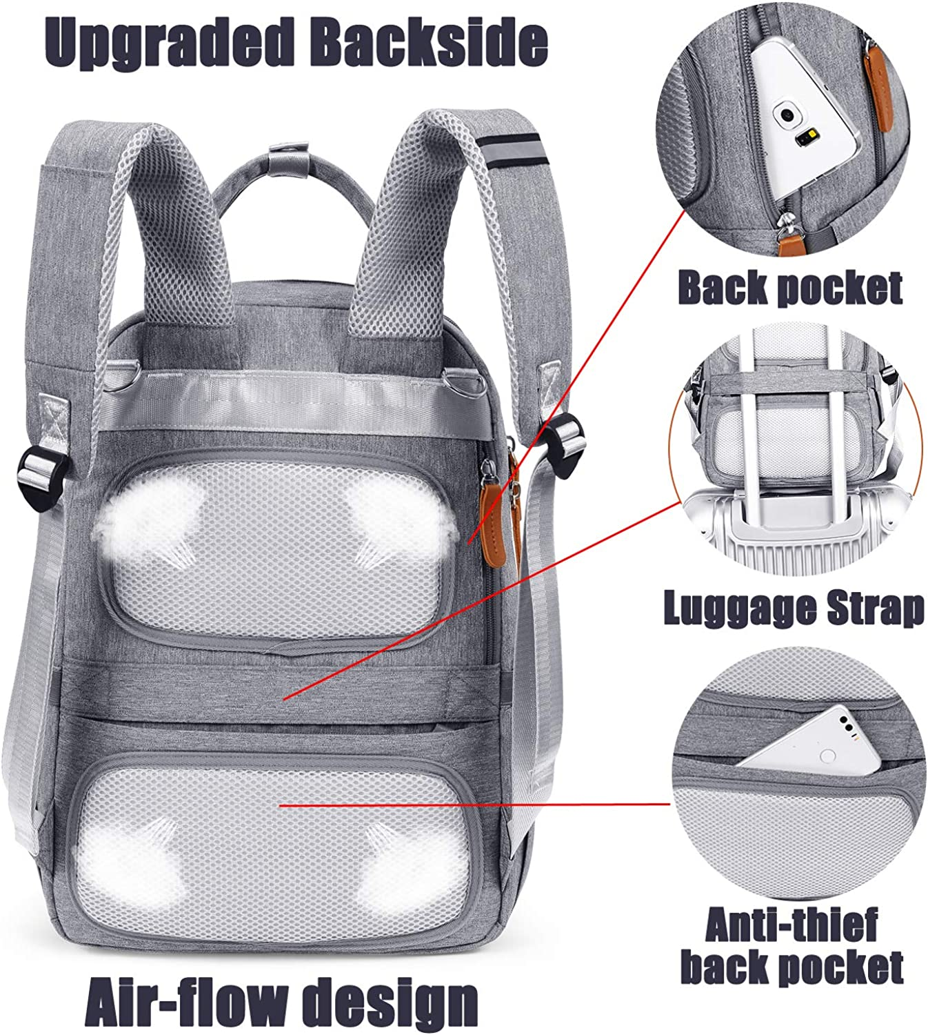 Luggage Strap for Boys Girls Women Men 15 inch,Grey UtoteBag Diaper Bag Backpack Anti-Thief Maternity Baby Nappy Bag Multifunction Travel Backpack with Laptop Pocket